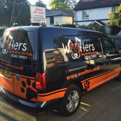 Woofters Branded Partial Wrap. Solid Colour Wrap Vinyl with Standard Cut Vinyl Detail.