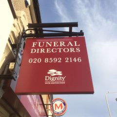Dignity Funerals Branded Illuminated Projecting Sign