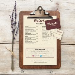 Walnuts Cafe Branded Menu and Business Cards