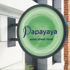 Papayaya Digital Print Branded Circle Projecting Sign